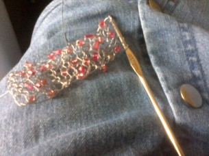 Crocheting the bracelet