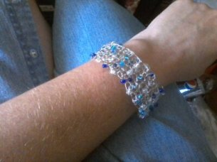 Blue/white cuff bracelet