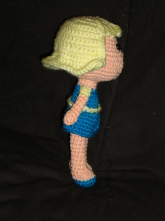 Blond girl side view